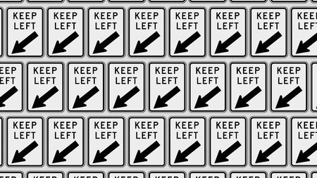 trip hazard: Ordered grid of keep left traffic signs. This image is a 3d illustration.