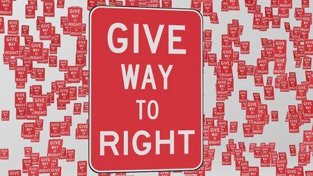 Maak plaats voor rechtse verkeersborden die in lege witte ruimtes zweven. Dit beeld is een 3d illustratie.