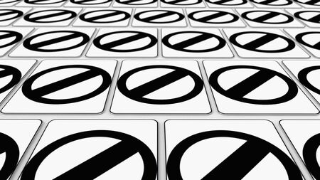 trip hazard: Ordered grid of null traffic signs. This image is a 3d illustration. Stock Photo