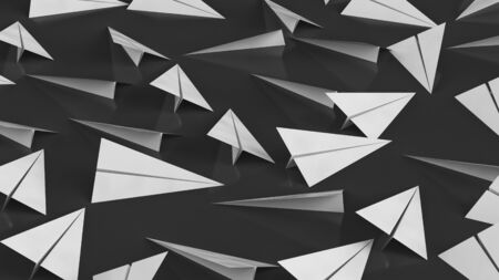 White paper planes on a black, reflective surface. This image is a 3d illustration.
