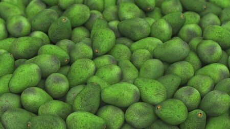 Pile of avocado under neutral studio lighting. This image is 3d illustration. Stock Photo