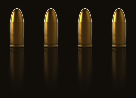 9mm ammo: Tiling line of  pistol bullets made out of gold. The are on a reflective black surface. This image is a 3d rendering.
