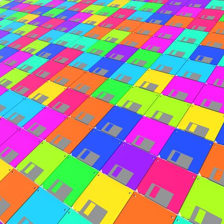 Endless array of vibrantly colored floppy disks. This image is a 3d rendering. Stock Photo