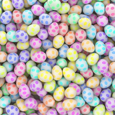 Aerial perspective of a large pile of colorful easter eggs with spot pattern. This image is a 3d illustration. Stock Photo