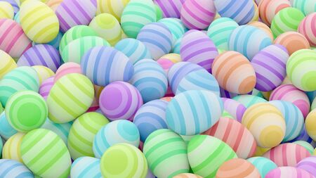 Pile of colorful easter eggs with a uniform stripped pattern. This image is a 3d illustration.