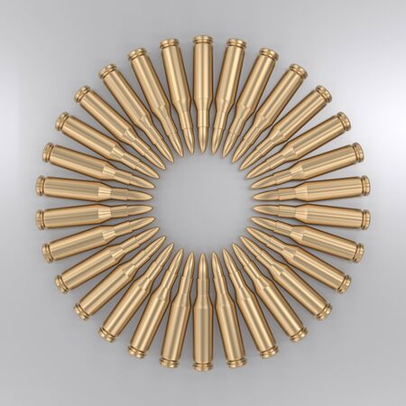 Circular pattern of shiny steel rifle ammunition. This image is a 3d rendering.