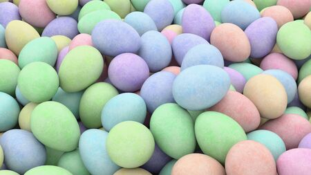 subtly: Large pile of colorful eggs with a subtly textured surface. This image is a 3d illustration.