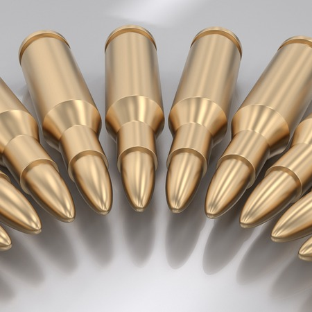 Curving array of gold rifle bullets on a reflective surface. This image is a 3d rendering.