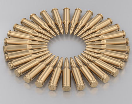 Radial pattern of gold rifle bullets on a reflective white surface. This image is a 3d rendering. Stock Photo