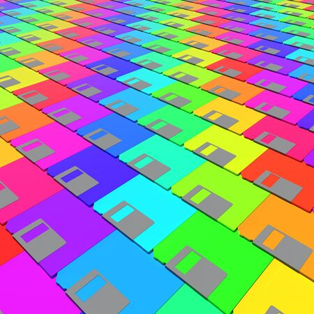 Layered field of vibrantly colored magnetic floppy disks. This image is a 3d rendering.