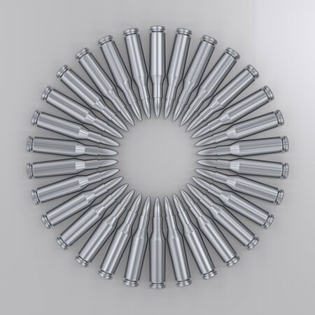 Aerial perspective of a circular array of silver rifle rounds on a white surface. This image is a 3d rendering. Stock Photo