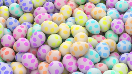 Large pile of colorful eggs with spotted surfaces. This image is a 3d illustration.