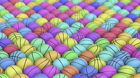 Densely packed flat grid of basketballs in numerous vibrant colours. This image is a 3d rendering.