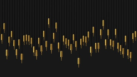 mini jack: Huge line of gold plated 3.5mm audio jacks of varying lengths against a simple black background. This image is a 3d rendering. Stock Photo