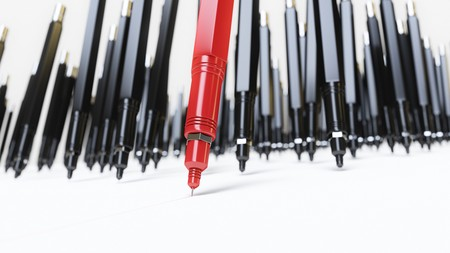 Red finepoint technical drawing pen leading a pack of monotonous black similar pens as they all draw line on a white surface. This image is a 3d rendering.
