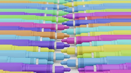 Layered lines of brightly colored finepoint technical pens shot with a shallow depth of field. This image is a 3d rendering Stock Photo