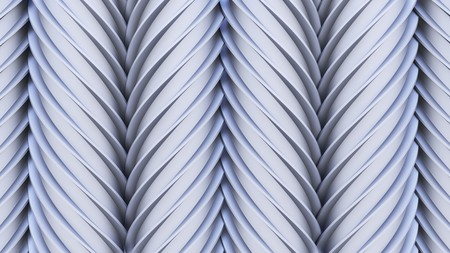 worm gear: Vertical array of interlocking, unmarked worm gears. The lighting features a soft blue tint. This image is a 3d render. Stock Photo