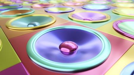 cable telefono: Tight profundidad de campo disparo de inmaculado multicolor conos de altavoces metálicos bajo iluminación de estudio brillante. Esta imagen es una representación 3d.