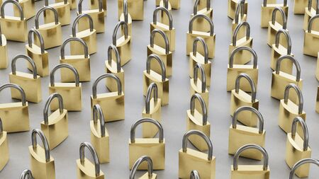 Upright closed clean padlocks variously rotated atop a neat concrete surface. This image is a 3d rendering.