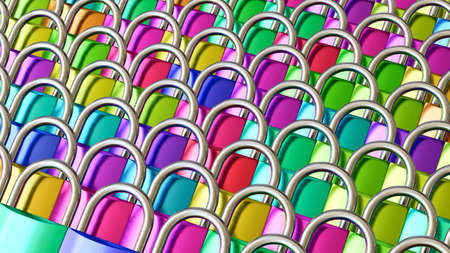 immaculate: Layered arrays of immaculate padlocks in numerous colors under bright studio lighting. This image is a 3d rendering.