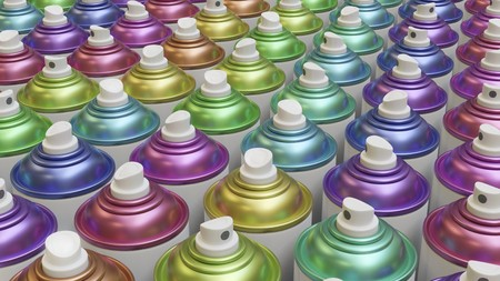 Packed grid of blank white aerosol cans with brightly colored metallic cones. This image is a 3d render.