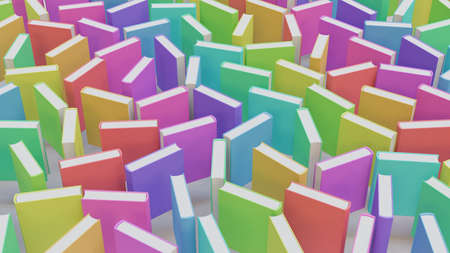 Array of variously rotated colorfully covered books on a simple white floor. This image is a 3d render.