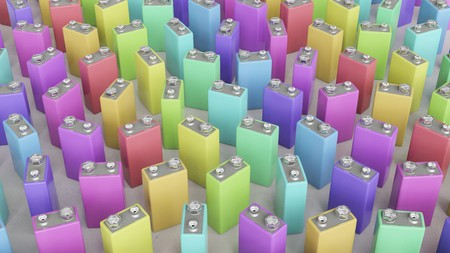 9v battery: Numerous upstanding nine volt batteries in various bright colors on a clean concrete surface under bright studio lighting. This image is a 3d render. Stock Photo