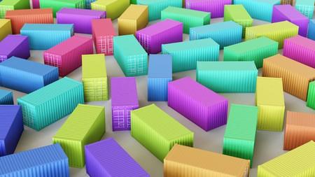 Netjes uniforme array van verschillende gekleurde Shipping Containers onder schone studio verlichting. Dit beeld is een 3d illustratie. Stockfoto