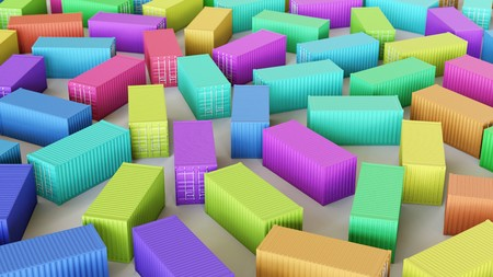 Neat uniform array of variously coloured Shipping Containers under clean studio lighting. This image is a 3d illustration. Stock Photo