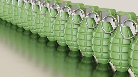 Close up on a tightly packed, perfectly aligned linear array of variously colored Grenades on a simple modernist neutral surface. This image is a 3d render.