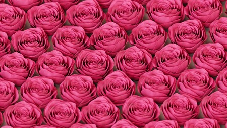 Perfect grid of red roses presented with even studio lighting and smooth depth of field. This image is a 3d illustration.