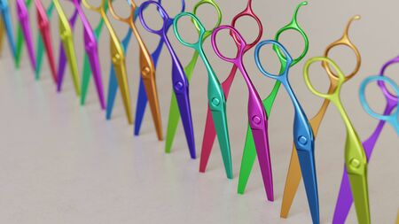 Close up on a tightly packed, perfectly aligned linear array of variously colored Barbers Scissors on a simple modernist neutral surface. This image is a 3d render.