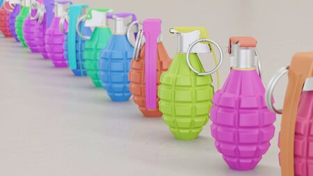 Neat line of variously oriented Grenades on a modern minimalist neutral surface. This image is a 3d rendering.
