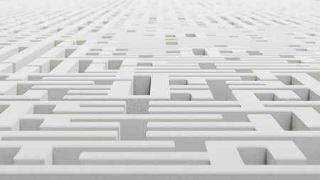 blocky: Low aerial perspective of an infinite, rough blocky white granite maze. This image is a 3d render.