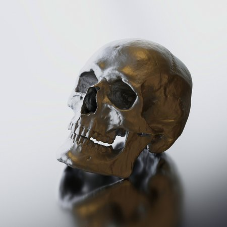 Shiny titanium skull sculpture presented on a reflective glossy surface. This image is a 3d render.