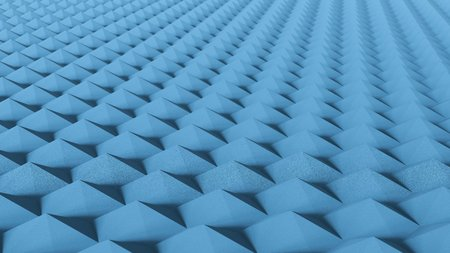 Endless landscape of light blue six sided knurls with shallow depth of field. This image is a 3d render.