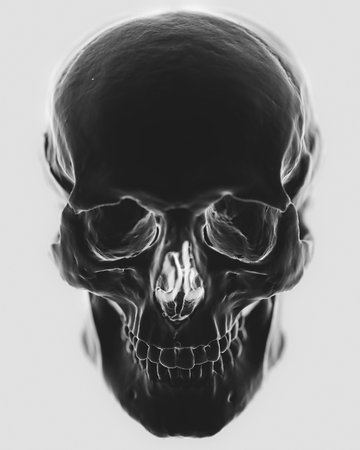Front on close up of a high contrast abstractly styled rendering of a highly detailed skull model. This image is a 3d render.