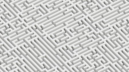 Isometric infinite white granite maze landscape. This image is a 3d render.