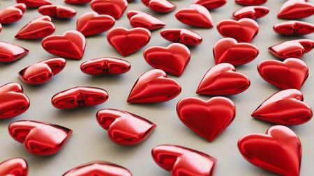 Tightly packed, uniform grid of red hearts under even studio lighting. This image is a 3d rendering Stock Photo