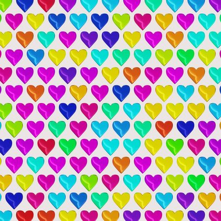 Large evenly layered and tightly packed array of hearts of various colors on a simple white background. This image is a 3d render.