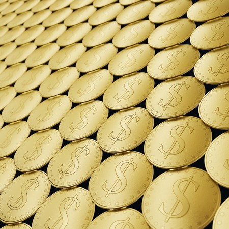 Isolated infinite array of densely packed dollar symbol coins presented with a shallow depth of field. This image is a 3d illustration.