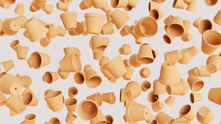 Numerous floating orange terracotta pots at varying angles on a blank white background. This image is a 3d rendering. Фото со стока