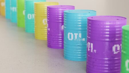oil and gas industry: Neat line of variously oriented oil barrels on a modern minimalist neutral surface. This image is a 3d rendering. Stock Photo