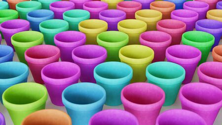 Neat uniform array of variously colored terracotta pots under clean studio lighting. This image is a 3d illustration.