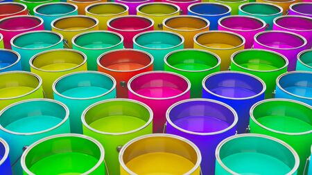 gallons: Neat uniform array of variously colored oil barrels under clean studio lighting. This image is a 3d illustration.