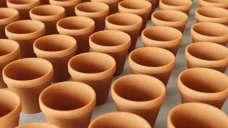 Tightly packed, uniform grid of orange terracotta pots under even studio lighting. This image is a 3d rendering