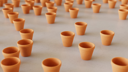 Large scattered array of orange terracotta pots arranged on a minimally textured white concrete surface. This image is a 3d rendering. Фото со стока