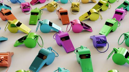 Neat uniform array of variously colored whistles under clean studio lighting. This image is a 3d illustration.