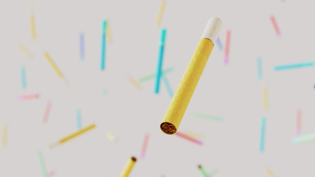 Floating cigarettes against a white background and array of out of focus cigarettes of various colors. This image is a 3d render.
