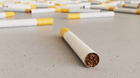 Large scattered array of cigarettes arranged on a minimally textured white concrete surface. This image is a 3d rendering.